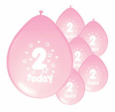 "10 X 2nd BIRTHDAY GIRL BALLOONS ""2 TODAY""  BIRTHDAY BALLOONS LIGHT PINK (PA)"