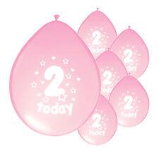 "10 X 2nd BIRTHDAY GIRL BALLOONS ""2 TODAY""  BIRTHDAY BALLOONS LIGHT PINK (PA)"
