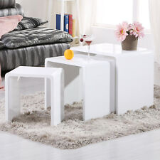 High Gloss White Wood Nest of 3 Coffee Table Seamless Side Tables Living Room