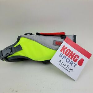 "Kong Sport Aqua Pro Dog Flotation Vest XXS: 12-16"" 5-10 lbs Neon Green/Gray"