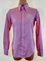 RALPH LAUREN pink super slim fit long sleeve shirt blouse top size US 2 UK 6