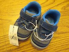 Surprize by Stride Rite Andy sz 2 gray & blue infant adjustable strap shoes NEW