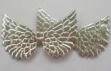 100! Angel & Fairy Wings - Double Sided Metallic Silver Padded Embellishments!