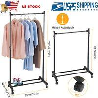 US Garment Rack Foldable Clothes Hanger Adjustable Stand w/ Wheels Storage Shelf