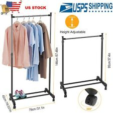 US Garment Rack Foldable Clothes Hanger Adjustable Stand w/ Wheels Storage Shelf