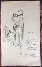 Vintage 1950's Design Sketch Lithograph By Helen E Simke Of Dezine Studios NYC