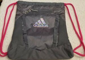 Adidas Rumble Sack - Gym Bag With Heather Chording Drawstring - Pink,Yellow,Blue