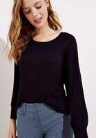 NWT Women's Ann Taylor LOFT Black 3/4 Sleeve Dolman Shirttail Tee Top Sz XL