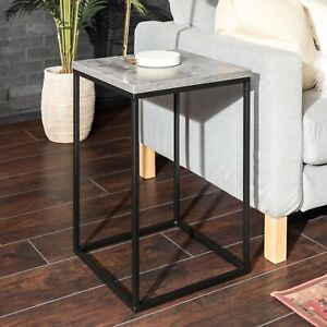 "16"" Modern Mixed Material Square Side Table"