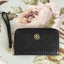 NWT Authentic Tory Burch Bryant Black Leather Smartphone Wristlet Wallet $165