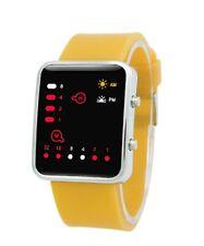 Reloj Pulsera elegante Reloj de Pulsera de Silicona Binario Digital Led De Correa Amarillo LED _ RD
