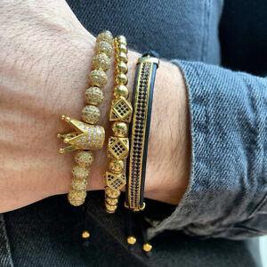 2019 Luxury Gold Plated CZ Balls Royal Crown King Bracelet Men Fashion Jewelry