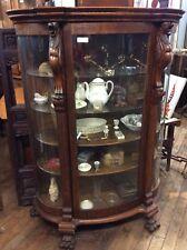 Antique Carved Oak China Cabinet, Curved Glass 66.25u201d H
