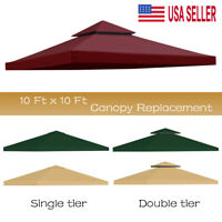 10'x10' Waterproof Gazebo 1 2Tier Top Replacement Canopy UV Sunshade Patio Cover