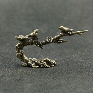 "Brass Pen Holder ""Bird On Branch"" Figurines Small Statue Home Office Decor Gift"