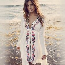 Women Vintage Mexican Boho Wedding Floral Embroidered Festival Mini party Dress