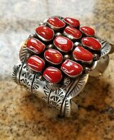 Navajo Stamped STERLING SILVER CORAL Cluster Cuff Bracelet 154g SPECTACULAR