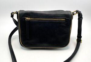 Margot Brand Ladies Dark Navy Leather Shoulder Bag Gold Zips