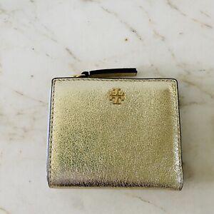 TORY BURCH Peace Metallic Spark Gold Leather Bi-Fold Mini Wallet