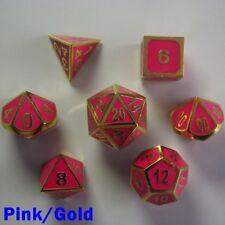 bescon Poliestireno 7 DADO RPG Set Metal Brilla En La Oscuridad Rosa Oro Bolso