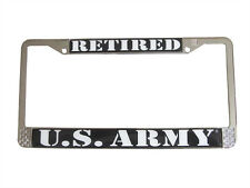 US Army Retired License Plate Frame Metal Chrome Made in the USA