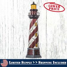 Lighthouse Coastal Sculpture Lighted Beach Yard Home Nautical Statue Decor