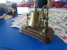 Vintage Brass Desk Top Bell With Hand Wheel Mounted On Wooden Plinth