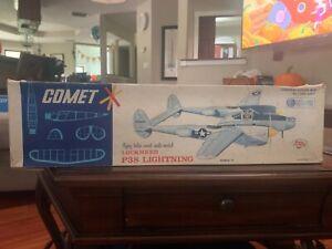 "Comet Lockheed P-38 Lightning Balsa Wood Model Big 34"" wingspan"
