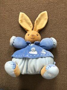 "Kaloo Blue 9""  Chubby Rabbit Bunny Baby Soft Toy Plush Comforter"