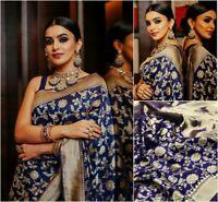 Soft Silk Blend Navy Blue Saree Jacquard Sari Indian Designer Women's Clothing