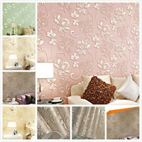3D 10M Embossed Flower Textured Wallpaper Antistatic Moisture-proof  Paper Roll