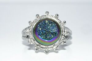 11.44MM NATURAL SOLITAIRE GEODE SILVER RING SIZE 9.25