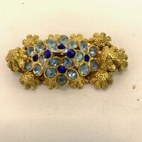 Vintage Jewellery Gold Tone Cluster Blue Diamanté Rhinestone Brooch Pin HF