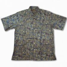 Tori Richard Mens Multicolor Geometric Cotton Lawn Hawaiian Shirt M USA