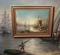 Antikes Seestück Ölgemälde. Alter Meister südliche Hafenszene mit Segelschiffen