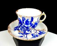"ROYAL DOULTON BURSLEM #C1684 BLUE FLORAL 2"" DEMITASSE CUP & SAUCER 1886 - 1902"