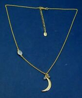 925 Sterling Silver Chalcedony Gemstone Gold Plated Moon shape Designer Necklace