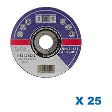 25x DISQUES MEULER MARQUE SBS 115 x 1 MM POUR MEULEUSE TRONCONNEUSE