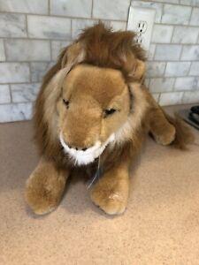 Preowned Stuffed Plush Tan Brown Lion Toy
