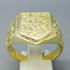 """Anello SCUDO fatto a mano Inghilterra .3 Leoni. ROSE 9CT ORO in bronzo Gioielleria """"dimensione Y 1/2"""""""
