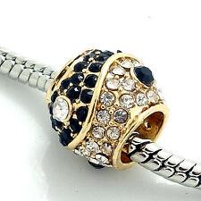 1pcs Gold Taiji CZ European Charm Beads Fit 925  Bracelet Necklaces Chain SH233