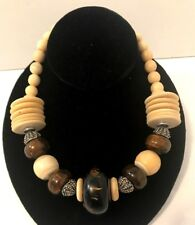 Vtg 70s Signed Les Bernard Statement Necklace Runway Quality Faux Ivory Wood EVC