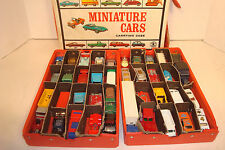 LOT OF VINTAGE MATCHBOX CARS,TRUCKS 40 VEHICLES,+1966 CARRY CASE