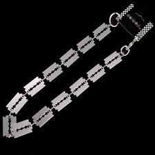 NEW Silver Razor Blade  Link Biker Trucker Punk Keychain Wallet Heavy Chain