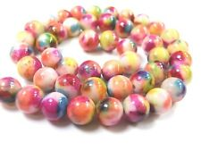 Jade Kugeln Perlen 1 Strang 8mm bunt Flower Farbe Mix rund