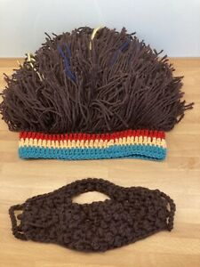 Rasta type wig hat with beard, homemade,hippie fancy dress, funny for xmas party