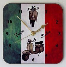 Square Wall Clock – Piaggio Vespa Scooter on Italian Flag - Size 19cm by 19cm