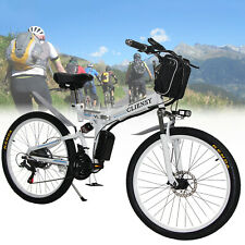 "White 26"" CLIENSY Folding Electric Bike City Mountain Cycling EBike 36V 350W New"