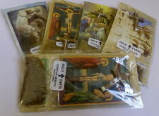 5 X Olive Wood Cross & Holy Earth & Christian Picture of Bethlehem Jerusale