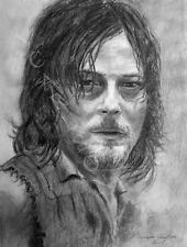 WALKING DEAD DARYL DIXON NORMAN REEDUS 8.5 X 11 FRAMEABLE PRINT ARTWORK SIGNED